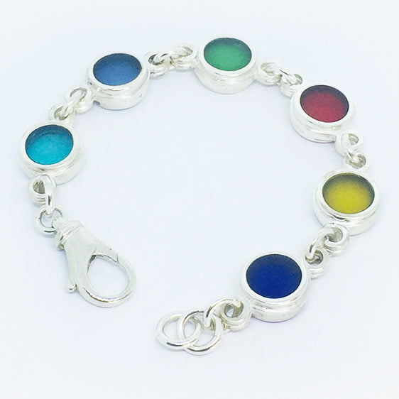 Multi coloured resin and stg silver bracelet