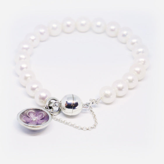 Culture pearl bracelet with sterling silver & resin flower charm (Purple Ice)