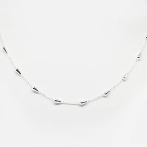Sterling silver 45cm intermittently spaced spheres necklace