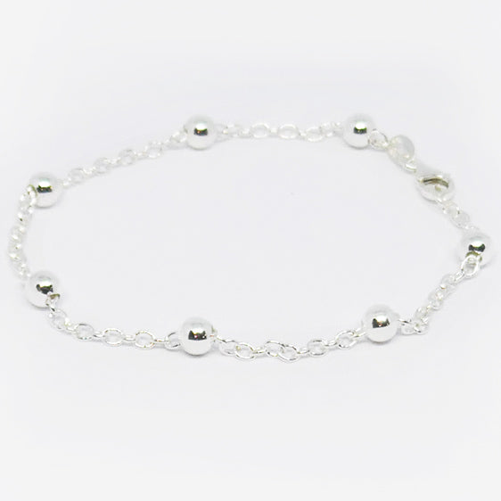 Bracelet with intermittently spaced 5 mm balls Sterling silver