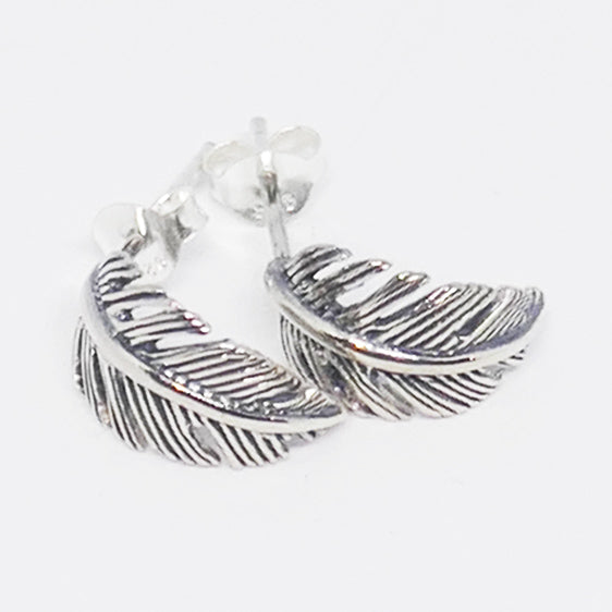 Sterling silver curved leaf studs