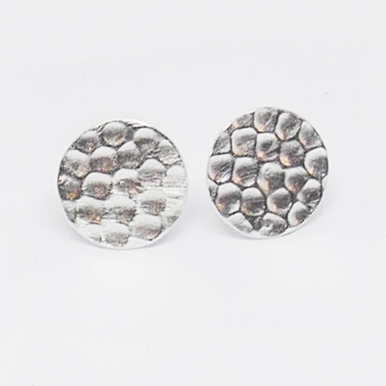 Round hammered sterling silver studs