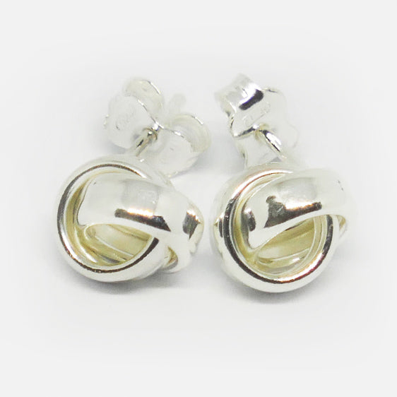 Sterling silver double ring 'knot style' stud earrings