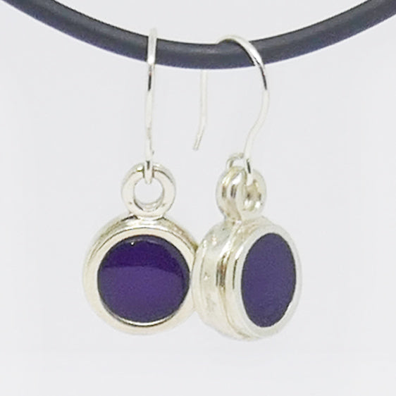 Sterling Silver purple resin drop earrings (can make other colours)