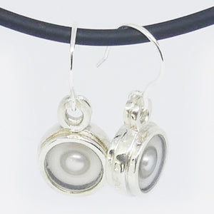 Sterling Silver, cultured pearl, white & clear resin  drop earrings