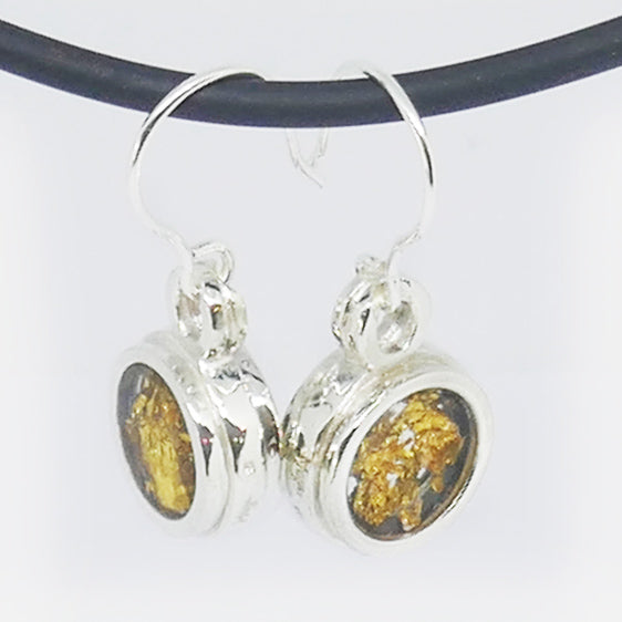 Sterling & 24ct Gold leaf & clear resin drop earrings
