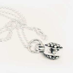 Double sided sterling silver oxidised raspberry drop pendant on fine 45 cm chain