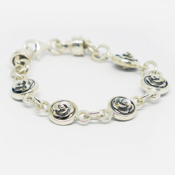 Sterling silver and double sided oxidised rose bracelet