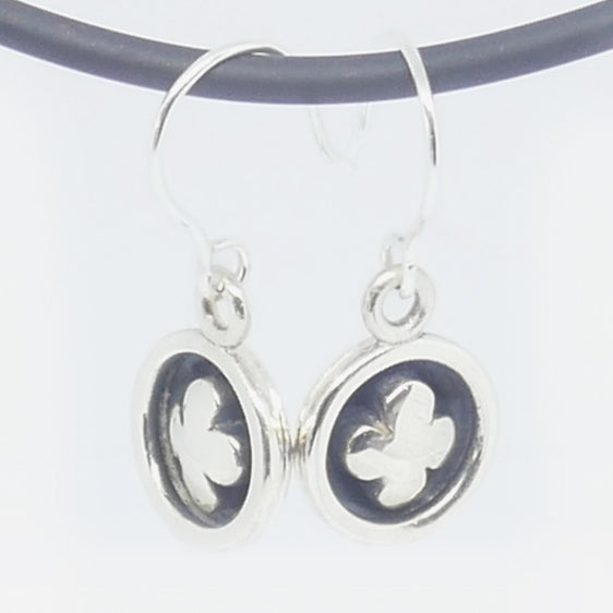 Sterling Silver oxidised  4 leaf domed back drop earrings