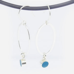 Bright Marine resin and large oval link drop earrings