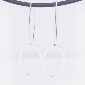 Sterling Silver Long hook single large oval ink drop earrings