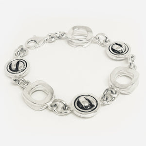 Sterling silver double concave square and round domed knot bracelet