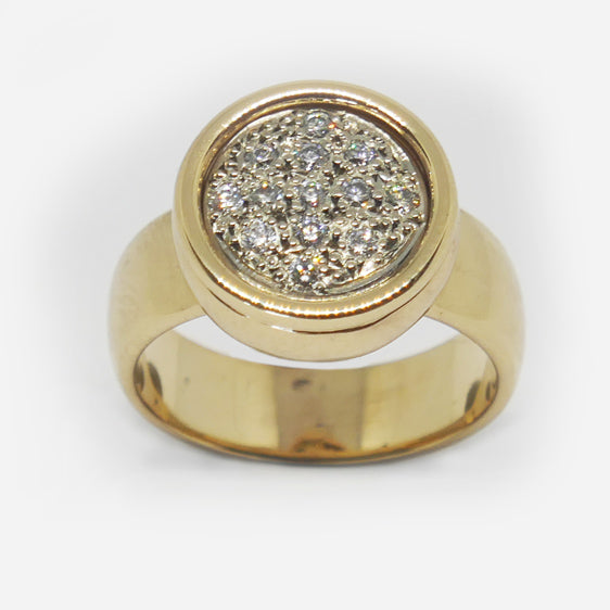 9ct gold and diamond round cluster ring