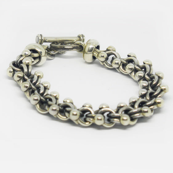 Chunky sterling silver double loop and ball bracelet