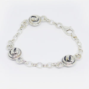 Triple double sided knot ball bracelet, sterling silver.