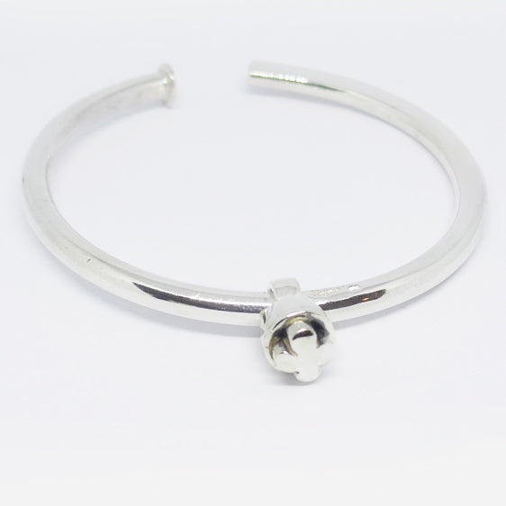 Sterling Silver forged tapered bangle with slider