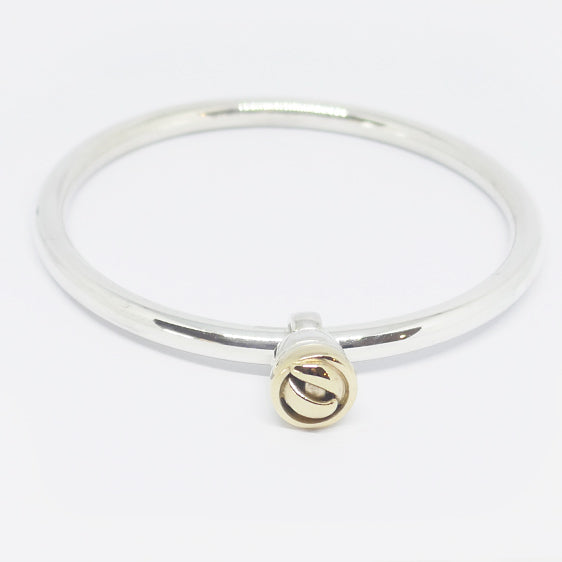 Sterling silver bangle with 9ct gold & sterling slider