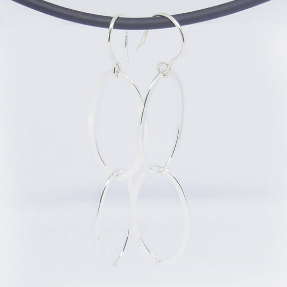 Sterling large double oval link long drop earrings