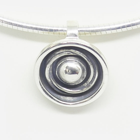 Sterling Silver oxidised round  'orbit' pendant ( omega wire sold separately)