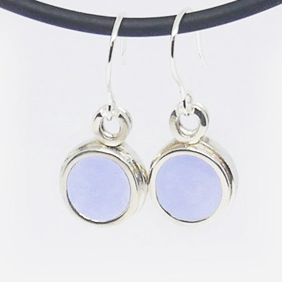 Pastel coloured drop stg silver earrings (purply blue)