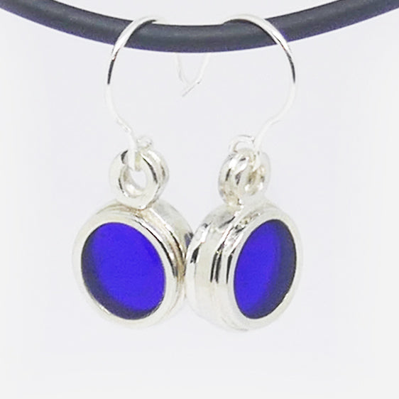 Sterling Silver Cobalt blue resin earrings