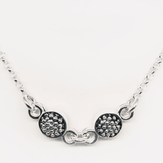 Sterling Double, double sided oxidised raspberry necklace