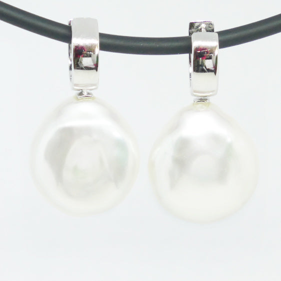 Sterling Silver large cultured pearl 'huggie' style drop earrings