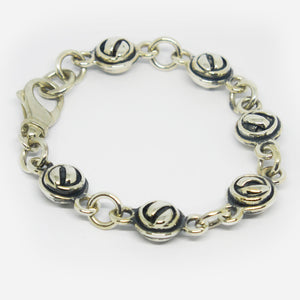 Sterling silver oxidised double sided knot ball bracelet