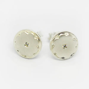 Sterling Silver matt finish cubic zirconia flat flower studs