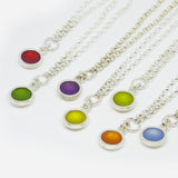 Complete Sterling Silver and round resin drop necklace (Fixed on chain).