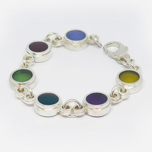 Sterling silver , multi-coloured reisin link bracelet
