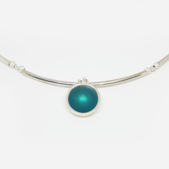 Complete sterling tube and turquoise resin necklace.