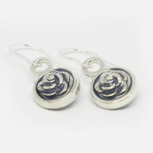 Oxidised sterling silver double sided rose drop earring