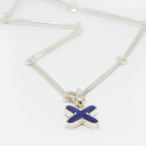 Sterling Silver and cobalt ink resin cross pendant (chain sold separately)