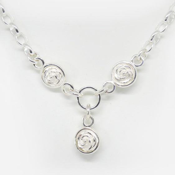 Sterling Silver triple double sided rose drop necklace (Complete with chain)