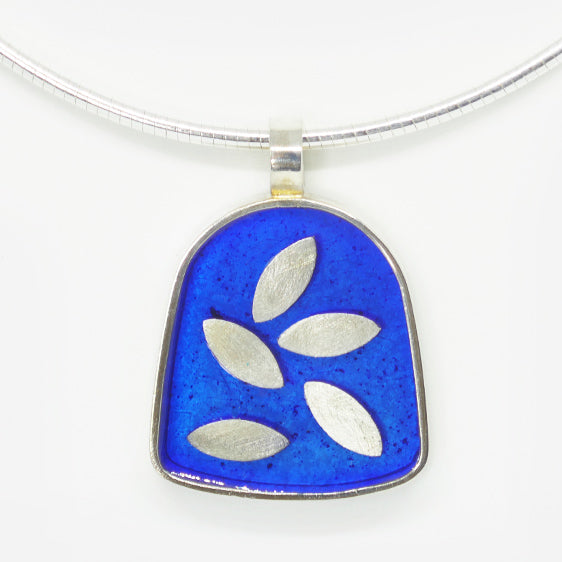 Large Sterling silver and speckled cobalt resin pendant with floating leaves (Omega wire sold separately)