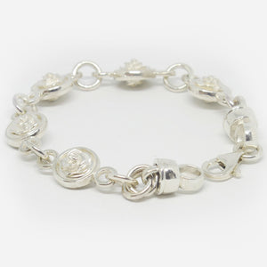 Sterling silver double sided rose bracelet