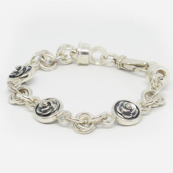 Sterling silver double sided oxidised rose & double round link bracelet