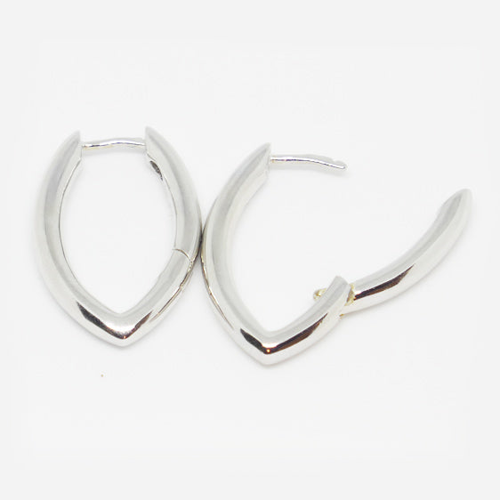 Sterling Silver marquise shaped huggies