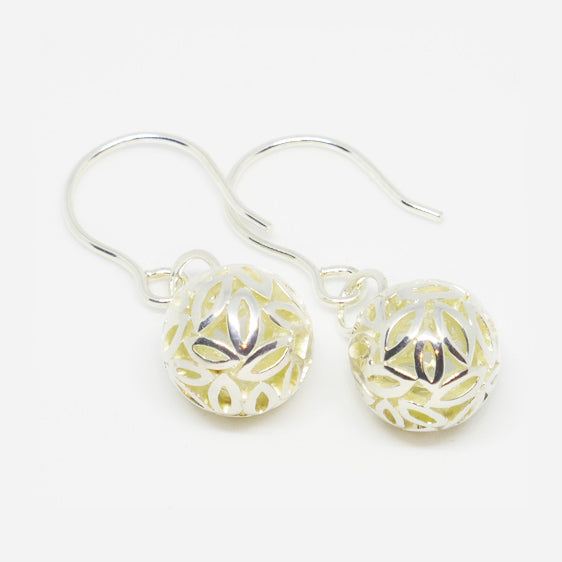 Sterling Silver leaf ball drop earrings on shorter hooks