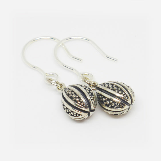 Sterling Silver oxidised ornate teardrop earrings on shorter hook