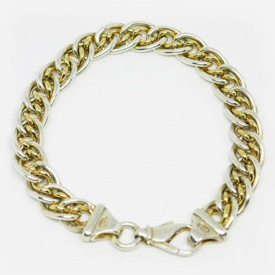Sterling Silver and 9ct gold double curb link bracelet