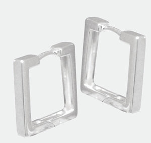 Sterling Silver Square huggies earrings