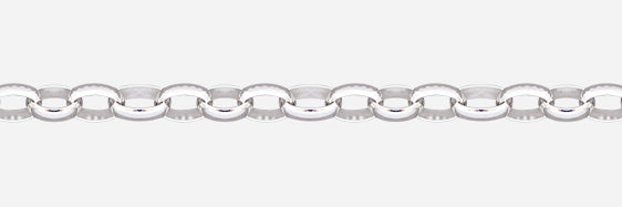 3.2mm Sterling Silver oval belcher link chain