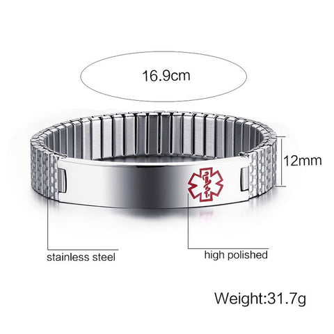 Vnox Stainless Steel Medical Alert Stretch Adjustable Wristband ID Bracelet Bangle for Women Custom Engraving