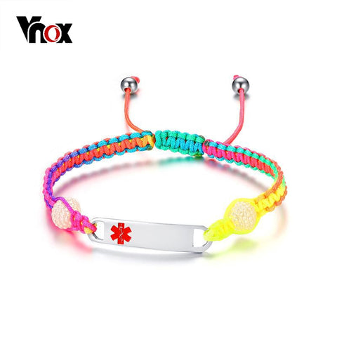 Vnox Free Engraving Girl Children Medical Bracelets ID Jewelry Stainless Steel Kid Emergency Alert Jewelry Adjustable Length