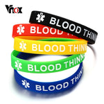 Vnox Blood Thinner Silicone Bracelet for Men 7.5 inch Medical Emergency Alert ID Male Jewelry