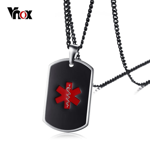 "Black Medical Alert ID Unisex Pendant Necklace Emergency Stainless Steel Jewelry 24"" Link Chain"