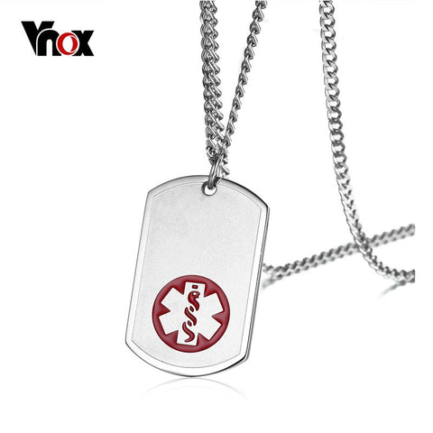 Vnox USA Custom Engraved Medical Alert Necklace with Free Engraving Stainless Steel Tag Pendant Necklace Men Male Jewelry