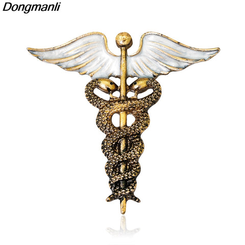 P2245 Dongmanli Vintage Caduceus Pin Medical Jewelry Gift for Doctor/Nurse/Medical Student Rod Of Asclepius Emergency Brooch
